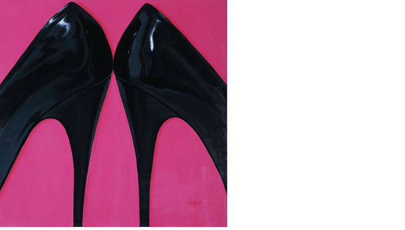 stilettos, painting by Leila J